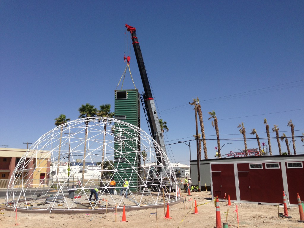 Downtown Project's Container Park - Part 1 Area - Corner tower being set with dome skeleton in the foreground.